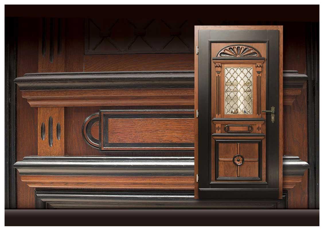 Drewniane drzwi zewnętrzne z szybą